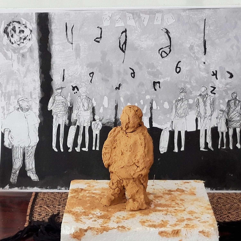 Rotraud von der Heide, Warten, Tonfigur vor dem Beitrag zum Künstlerbuch (Collage)